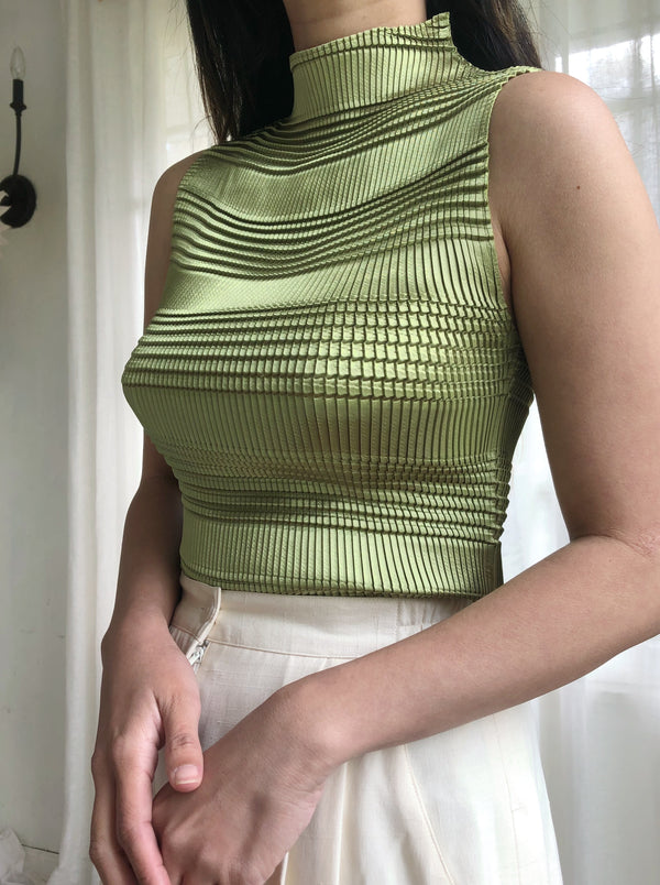 Vintage Moss Green Mock Neck Pleated Top - S/M