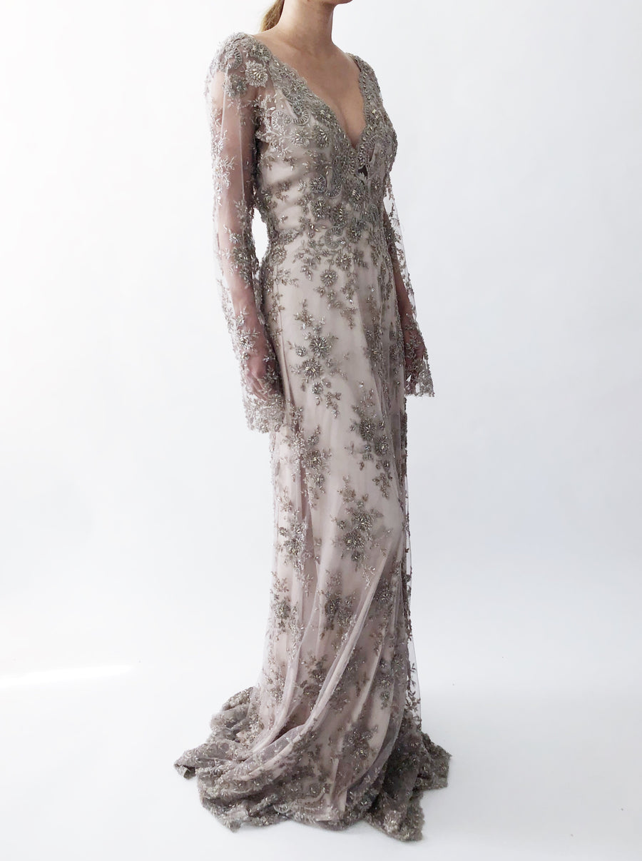 RESERVED GOSSAMER Mauve/Lavender Beaded Lace Gown - 6/8