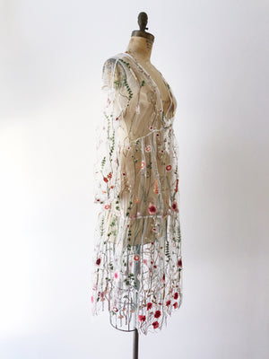 Embroidered Tulle Dress - M