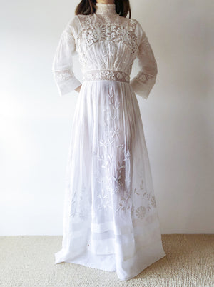 Antique Embroidered Cotton and Irish Crochet Gown - XS