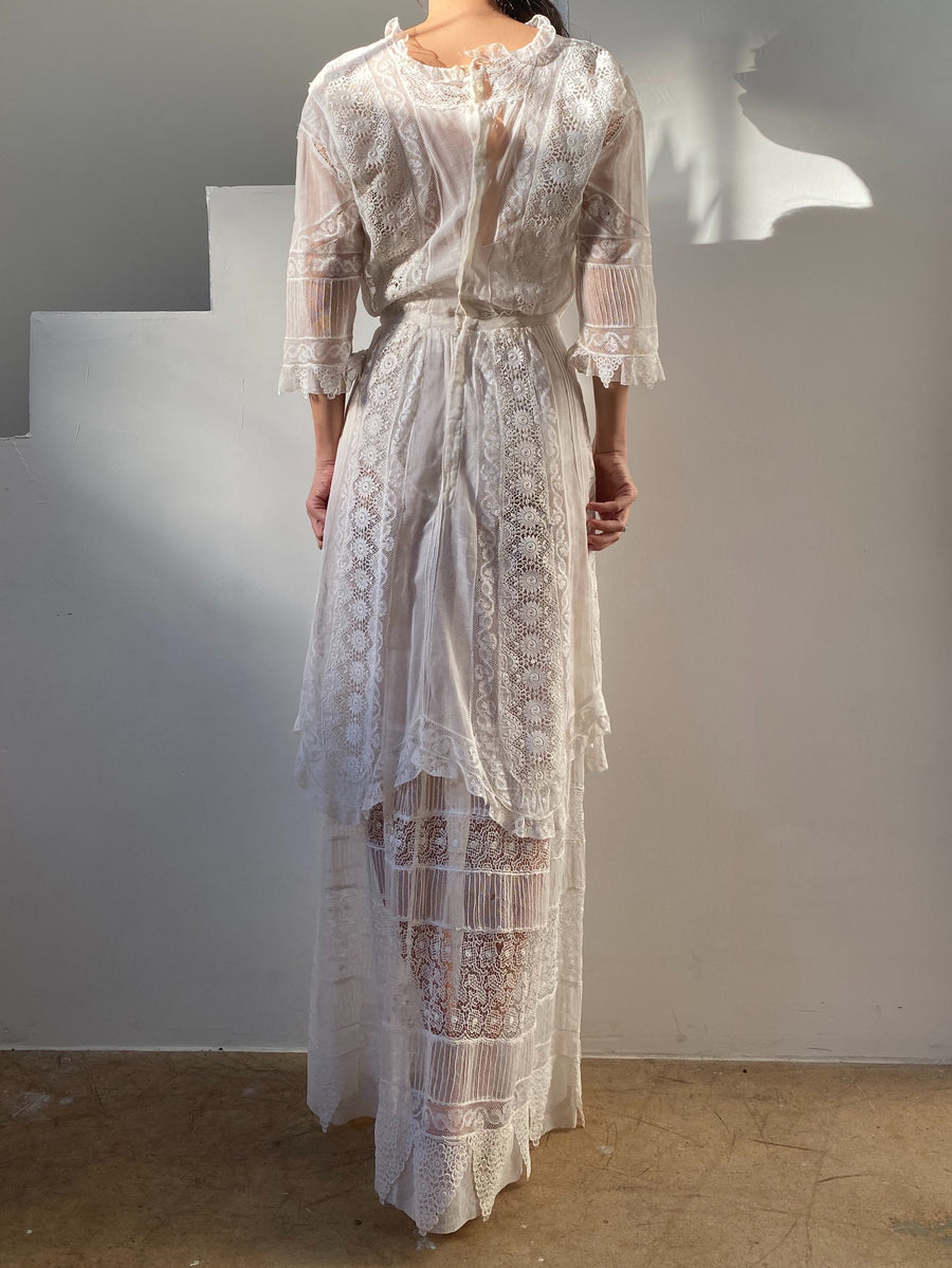 Antique Embroidered Cotton Dress - XS/S
