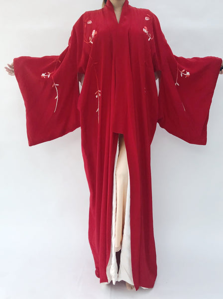 1920s Red Silk Embroidered Kimono - One Size