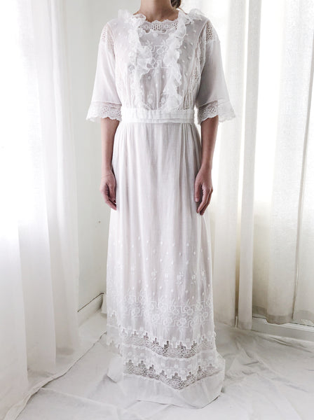 Antique Cotton Gauze Embroidered Dress - S
