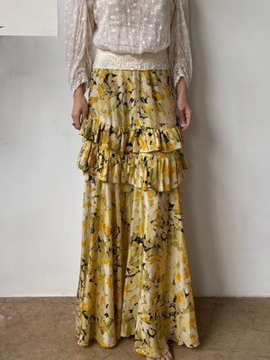 1930s Yellow Silk Floral Skirt  - S