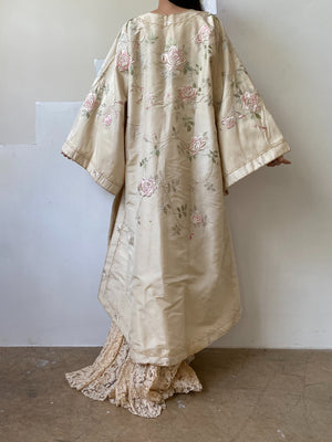 Antique Ivory Silk Rose Embroidered Robe - One Size