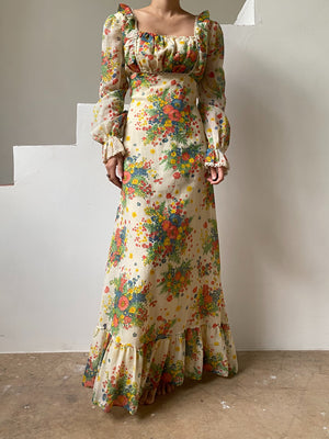 1970s Floral Bouquet Maxi Dress - S/M