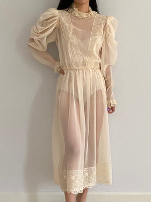 Vintage Sheer Chiffon Mutton Sleeves Dress - M