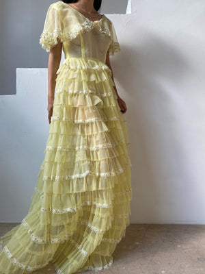 Vintage Canary Yellow Ruffle Voile Dress - S