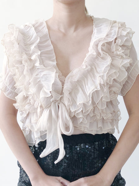 1980s Vintage Silk Sheer Cropped Bolero Top - S/M