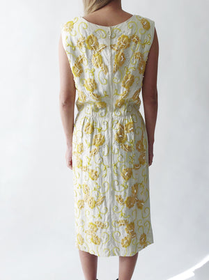 1950s Linen with Embroidered Flower Beaded Dress - XS/S