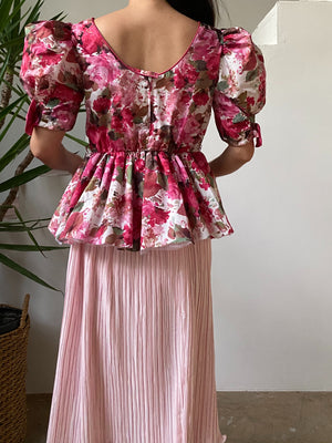 1950s Pink Floral Puff Sleeve Top - XS/S