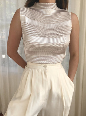 1980s Eggshell Micro Pleated Top - S-L