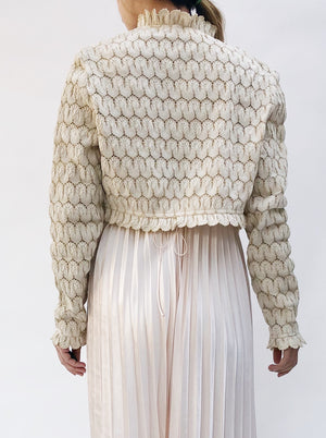 Vintage Ivory Scalloped Knit Jacket  - S/M