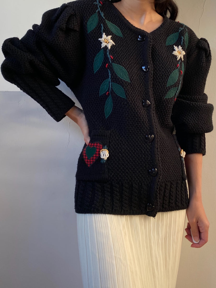 Vintage Hand Knit Puff Sleeves Wool Cardigan - L