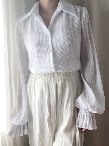 Vintage White Micro Pleated Top - S/M
