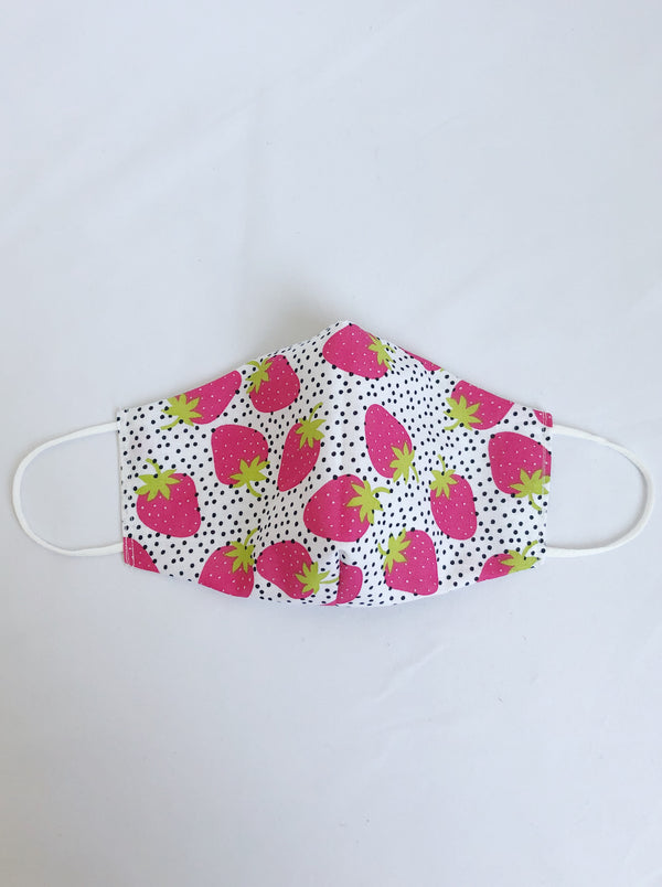 2-in-1 Reversible Dotted Strawberries Cotton Face Mask