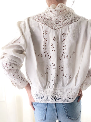 Rare Antique Linen Embroidered Top/Jacket - M