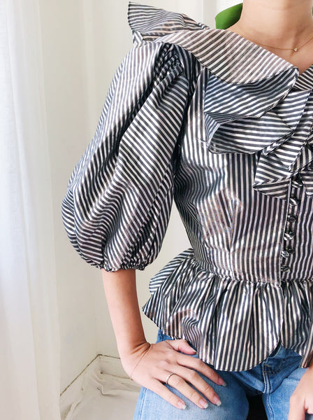 1980s Puff Sleeves Striped Top - XS/S