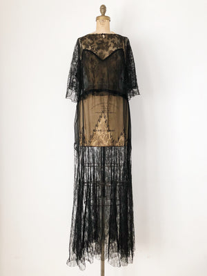 1930s Black Silk Chiffon and Lace Gown - M/L