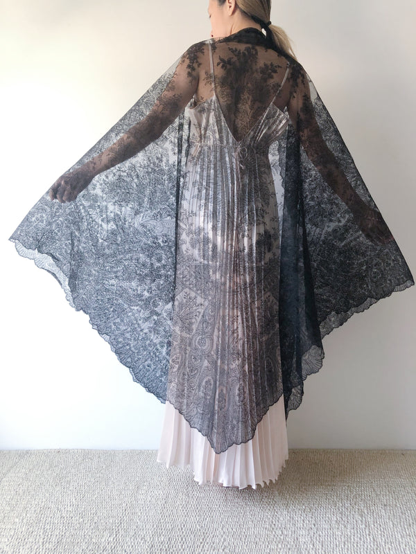 Antique Black Lace Shawl - One Size