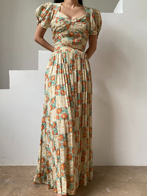 1940s Textured Floral Gown - XS