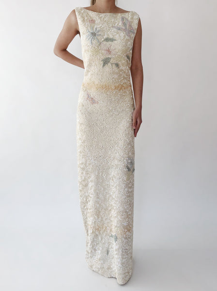 1960s Ivory Sequins Dress - M