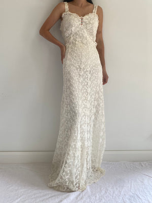 1930s Net Lace Gown - S