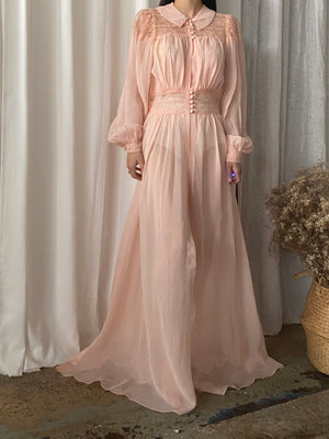 1940s Chiffon and Lace Dressing Gown - S