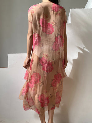 1920s Floral Silk Chiffon Flapper Dress - M/L