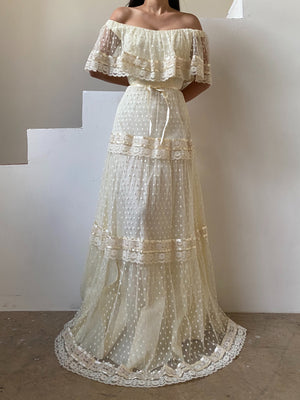 1970s Swiss Dotted Lace Gown - S