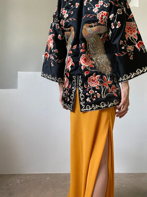 Antique Silk Jacket with Embroidery- XS