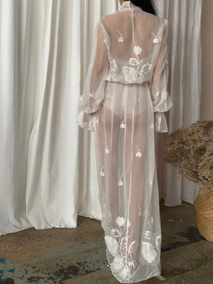 1970s Embroidered Chiffon Poet Sleeves Gown - M