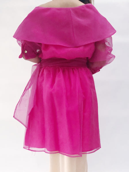 1980s Fuchsia Poly Organza Jacket/Duster - M
