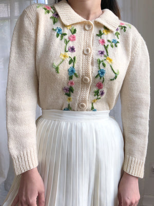 1950s Peter Pan Collar Embroidered Cardigan - S