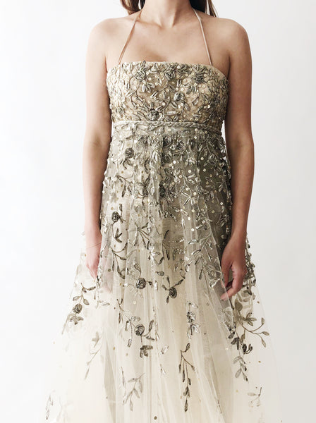 Oscar De La Renta Metallic Embroidered Gown - XS/S
