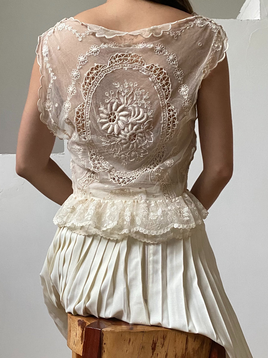 Antique Embroidered Lace Top - XS/S