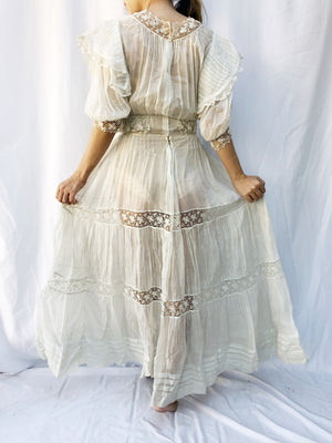Antique Cotton Voile Puff Sleeve Dress - XS/S