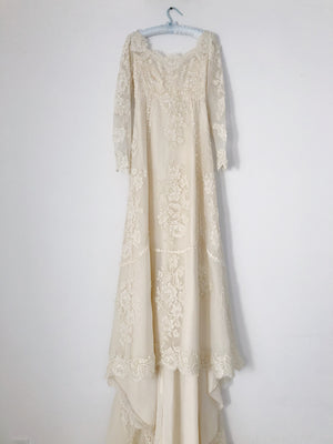 1960s Alencon Silk Organza and Corded Lace Gown - XS/S