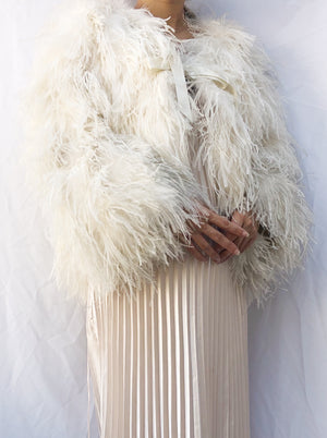 Vintage Ivory Ostrich Feather Jacket - M