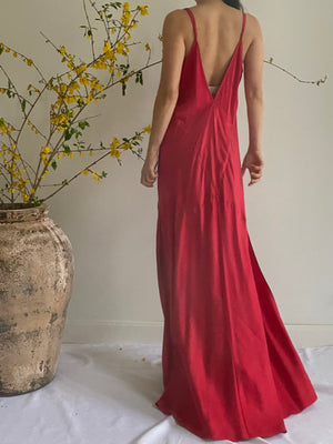 Y2K Red Silk Bias Cut Slip Dress - M/L