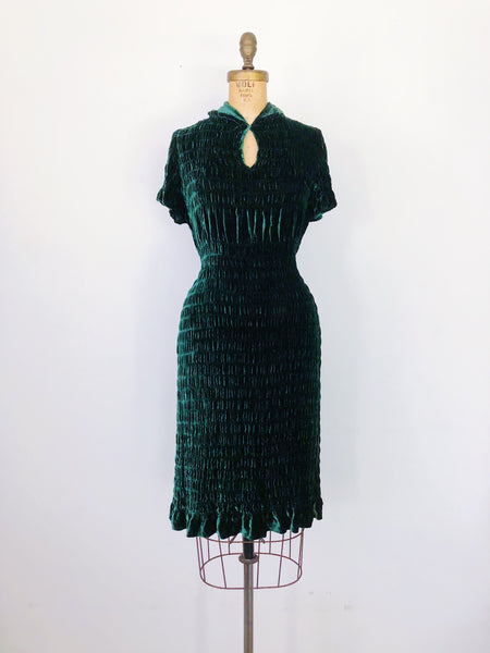 1930s Green Silk Velvet Dress - S/M
