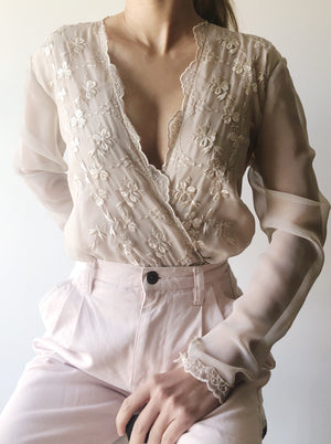 Vintage Taupe Embroidered Blouse - S/M
