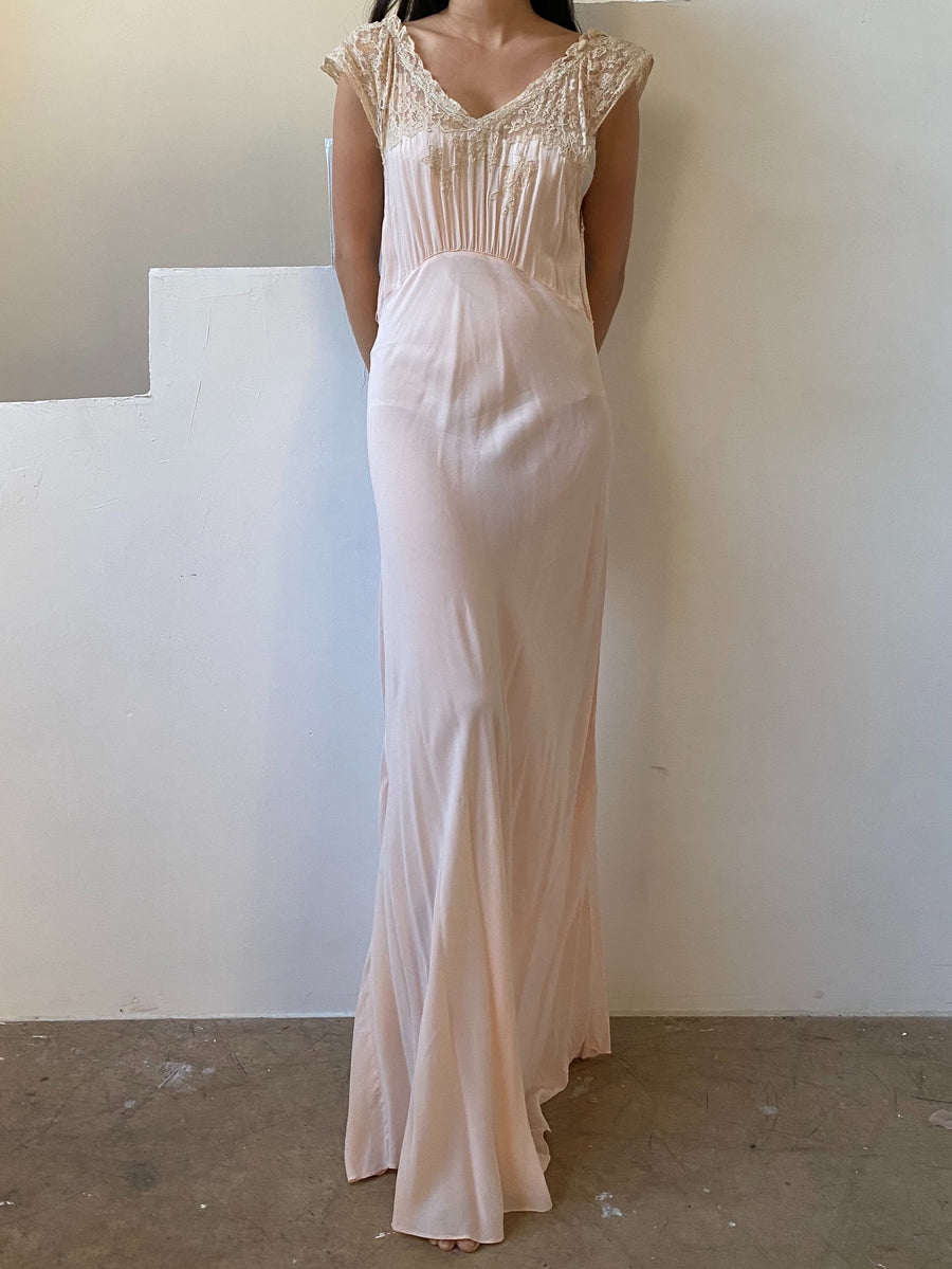 1930s Blush Silk Chiffon Gown - S