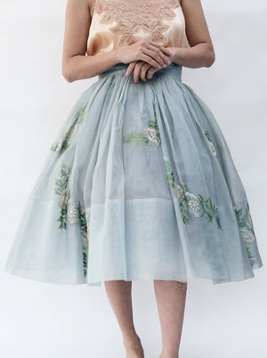 1950s Light Blue Pleated Silk Organza Skirt - S