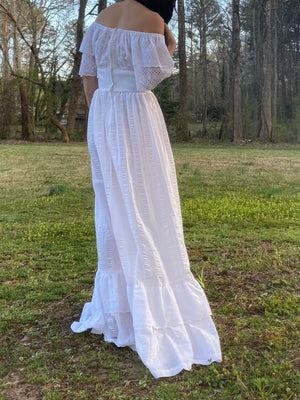 1970s Off-the-Shoulder Cotton Dress - XS