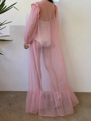 Vintage Pink Puff Sleeves Dressing Robe - OSFM