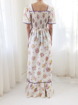 1970s Cotton Floral Print Smocked Dress - S