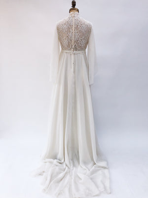 1960s Chiffon and Lace Gown - S