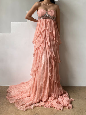 Peach Tiered Ruffle Dress - M