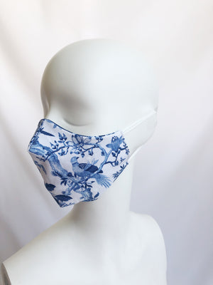2-in-1 Reversible Blue Porcelain Cotton Face Mask